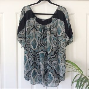 Simply Emma 2X Boho Medallion Layer Look Blouse